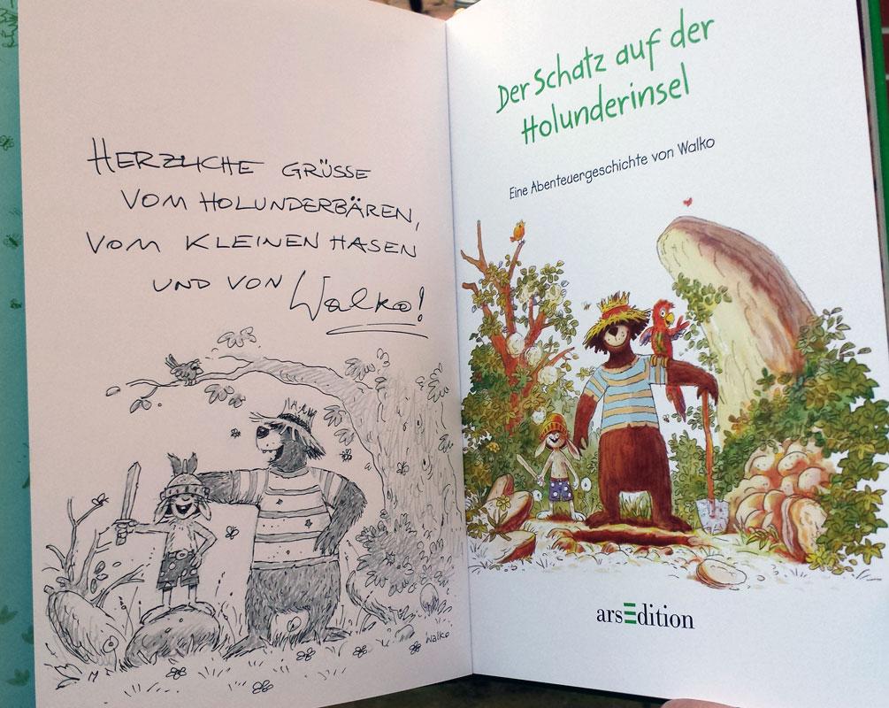 Hase & Holunderbär-Buch mit Originalzeichnung von Walko
