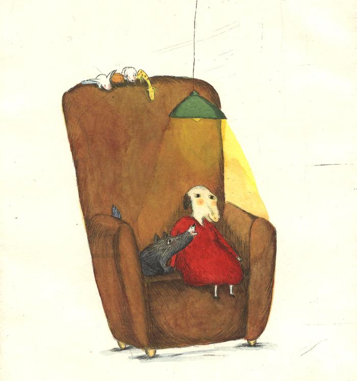Kristina Andres - Illustration Schaf im Sessel