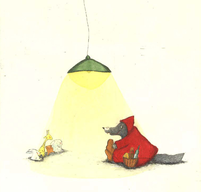 Andres - Illustration Wolf unter Lampe